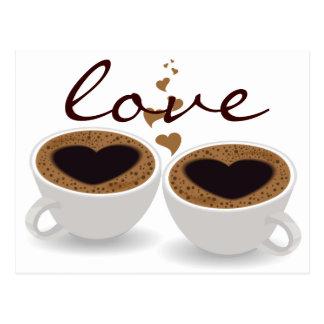 Kaffeetasse-Paar-Herzen und Liebe-Postkarte Postkarte