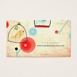 Käfig-Vogelmohnblumen Vintage Geschäfts-Karte Visitenkarten