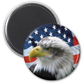Kahl-Eagle-Amerikanisch-Flagge Runder Magnet 5,1 Cm