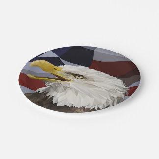 Kahler Adler-amerikanische Flaggen-Papier-Teller Pappteller