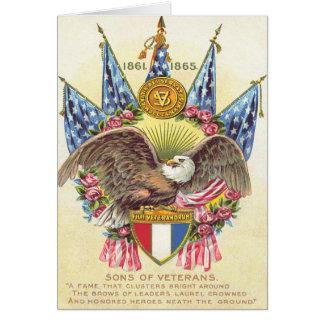 Kahler Adler-amerikanische Flaggen-Rose Grußkarte