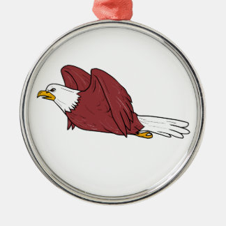 Kahler Adler-Fliegen-Cartoon Rundes Silberfarbenes Ornament