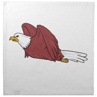Kahler Adler-Fliegen-Cartoon Stoffserviette