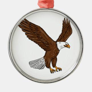 Kahler Adler-Fliegen-Zeichnen Rundes Silberfarbenes Ornament