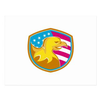 Kahler Adler mit amerikanischem US Flagge Postkarten