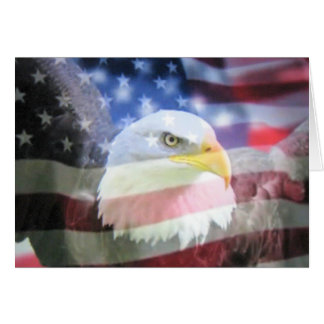 Kahler amerikanischer Adler u. USA-Flagge Grußkarte