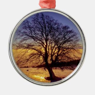 kahler Baum mit  Schnee und Sonnenuntergang, Rundes Silberfarbenes Ornament