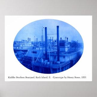 Kahlke Bros. Boatyard, Felsen-Insel, IL, 1891 Plakat