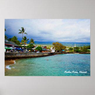 Kailua Kona, Hawaii • Ölfarbe-Digital-Kunst Poster