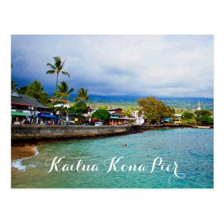 Kailua Kona Pier-Hawaii-Ölfarbe-Digital-Kunst Postkarte