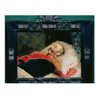 Kaiser Alexander II auf seinem Sterbebett, 1881 Postkarte