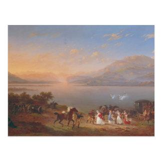 Kaiserin Josephine, der ankommt, um Napoleon zu Postkarte