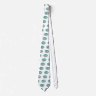 Kajak-Fluss-Szene im Pointillism, ovale Krawatte