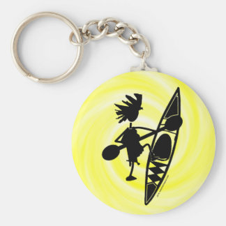 Kajak-Kanu-frohe Silhouette Schlüsselanhänger