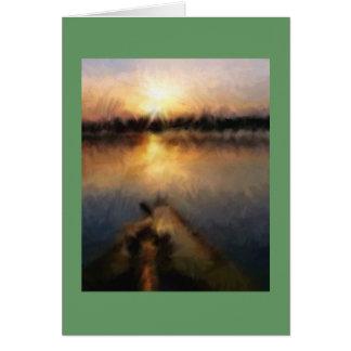 Kajak-Sonnenuntergang-Aquarell Karte