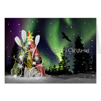 Kajak-Weihnachtsbaum-Aurora Borealis Karte