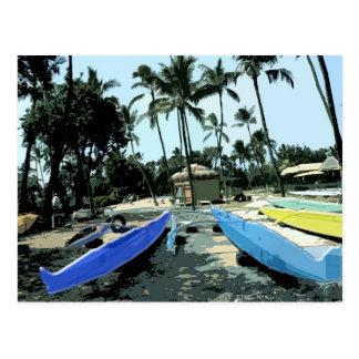 Kajaks auf einem hawaiischen Strand Postkarte