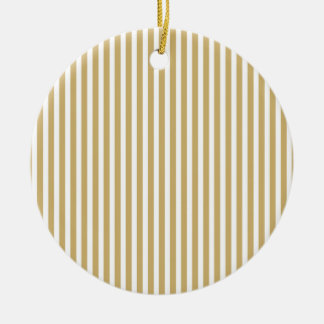 Kakifarbige beige und weiße Cabana-Streifen Keramik Ornament