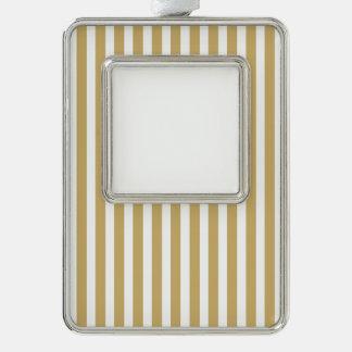 Kakifarbige beige und weiße Cabana-Streifen Rahmen-Ornament Silber