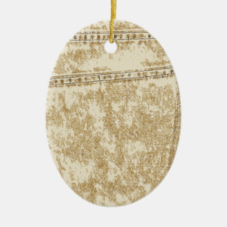 Kakifarbige Denim-Tasche Keramik Ornament