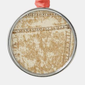 Kakifarbige Denim-Tasche Silbernes Ornament