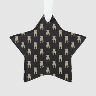 Kakifarbige Mops-Silhouetten auf schwarzem Ornament