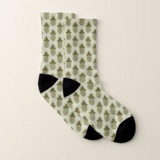 Kakifarbiges Ananas-Muster Socken