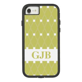 Kakifarbiges Rauten-Gitter mit Monogramm Case-Mate Tough Extreme iPhone 8/7 Hülle