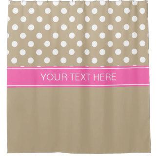 Kakifarbiges Weiß Fahrwerk-Punkt-Pink COLUMBIUM Duschvorhang