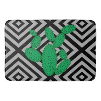 Kaktus - abstraktes geometrisches Muster - Grau Badematte