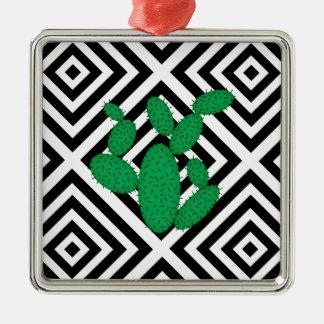Kaktus - abstraktes geometrisches Muster - Silbernes Ornament