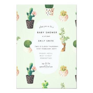 Kaktus-Babyparty lädt AquarellSucculents ein Karte