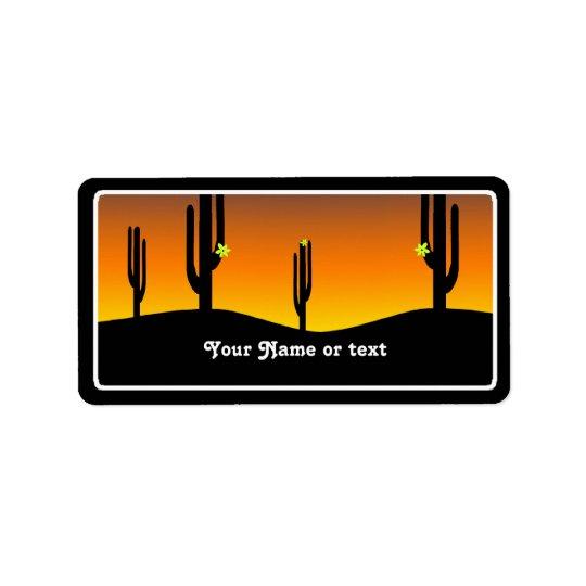 Kaktus-Blumen-Sonnenuntergang Adressaufkleber