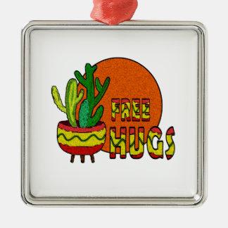 Kaktus - geben Sie Umarmungen frei Quadratisches Silberfarbenes Ornament