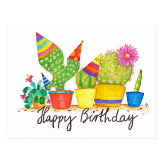 Kaktus-Geburtstagspostkarte durch Nicole Janes Postkarte