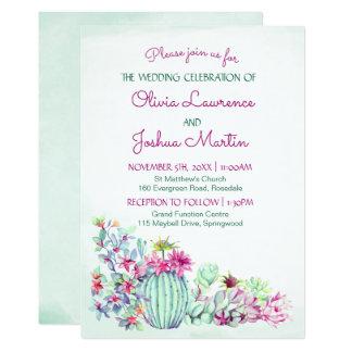 Kaktus-Hochzeits-Einladungen Karte