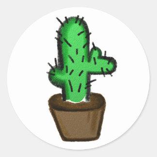 Kaktus-Illustrations-Aufkleber-Blatt Runder Aufkleber