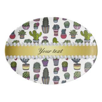 Kaktus-Imitat-GoldBling Diamanten Porzellan Servierplatte