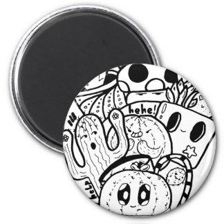 Kaktus-Liebe-einfaches Gekritzel Runder Magnet 5,7 Cm