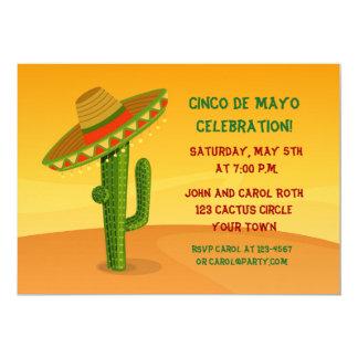 Kaktus mit Sombrero, Cinco De Mayo 12,7 X 17,8 Cm Einladungskarte