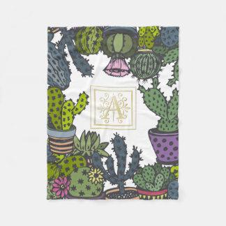 Kaktus-Monogramm A Fleecedecke