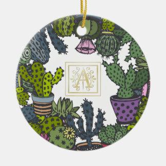 Kaktus-Monogramm A Keramik Ornament