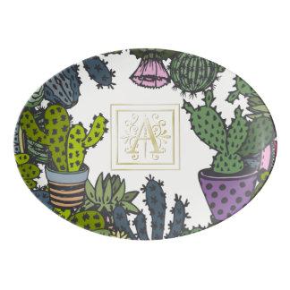 Kaktus-Monogramm A Porzellan Servierplatte