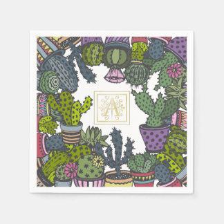 Kaktus-Monogramm A Serviette