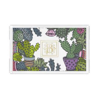 Kaktus-Monogramm B Acryl Tablett