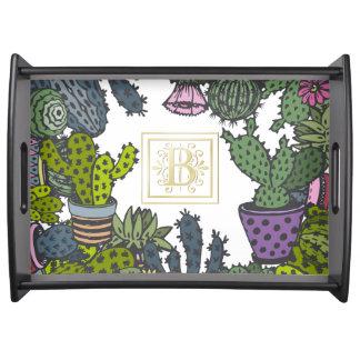 Kaktus-Monogramm B Tablett