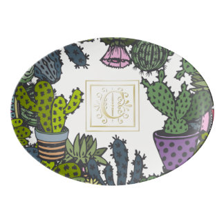 Kaktus-Monogramm C Porzellan Servierplatte