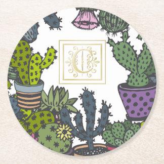 Kaktus-Monogramm C Runder Pappuntersetzer
