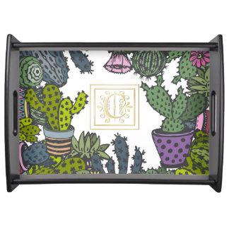 Kaktus-Monogramm C Tablett