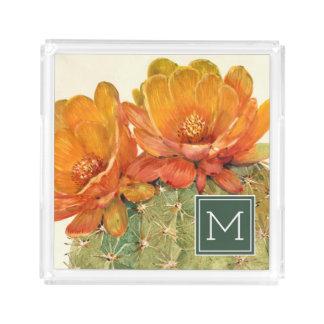 Kaktus-Orangen-Blüten Acryl Tablett